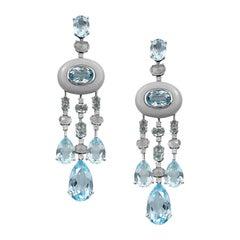 Fashion Moon Rock Topaz White Diamond White Gold 14 Karat Dangle Earrings