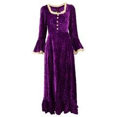 Fashion Mouse 1970s Vintage Renaissance Crushed Floral Velvet & Lace Maxi Dress