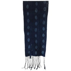 Fashion Mud Cloth Blue and White Resist-Dyed Unisex Scarf with Long Fringes