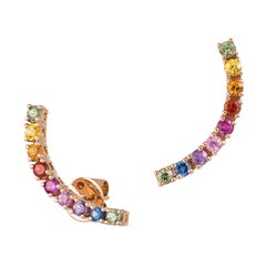Fashion Multi Sapphire Diamond Earrings 18k Pink Gold Cuff Style for Her