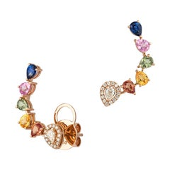 Fashion Multi Sapphire Diamond Earrings 18k White Gold Cuff Style for Her