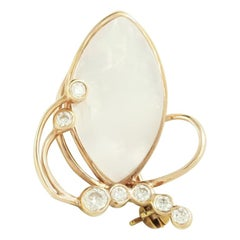 Fashion Nacre Diamond Yellow Gold 14 Karat Brooch