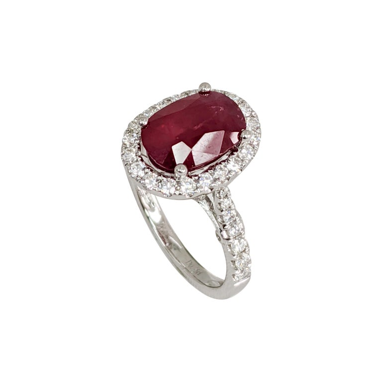 3.15ct Ruby   .65ct Diamond  Platinum Ring