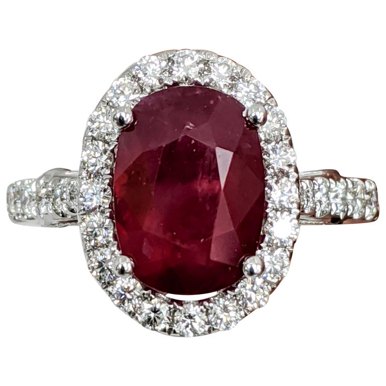 Oval Ruby or Diamond Ring For Sale