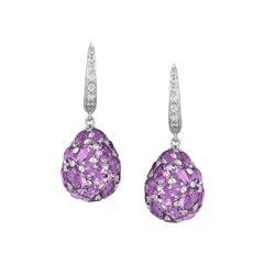 Fashion Purple Amethyst White Diamond White Gold 18k Drop Lever Back Earrings
