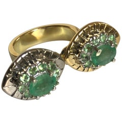 Fashion Ring 2 Emeralds 20 Peridots Yellow and White Gold 18 Karat Metric 54