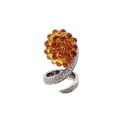 Fashion Ring Briolette Cut Orange Sapphires, Diamonds Pave, White Gold