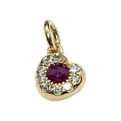 Fashion Rose Cut Ruby 0.40 Heart Pendant in 18 Carat Rose Gold and Diamonds