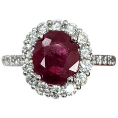 Fashion Ruby Ring, Diamond and Platinum Ring