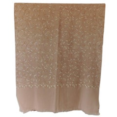 Fashion, Sheer Wool Embroidered Natural and Camel Scarf