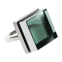 Fashion Sterling Silver Cocktail Ring with Green Amethyst, Featured in Vogue