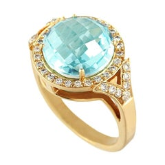 Fashion Topaz Diamond Yellow Gold 18 Karat Ring