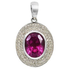 Fashion Tourmaline White Diamond White Gold Pendant Necklace