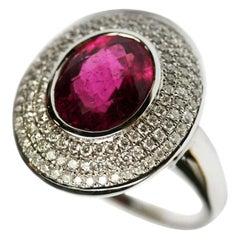 Fashion Tourmaline White Diamond White Gold Ring