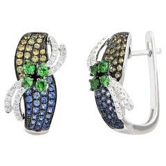 Fashion Tsavorite Blue Yellow Sapphire Diamond White Gold Earrings