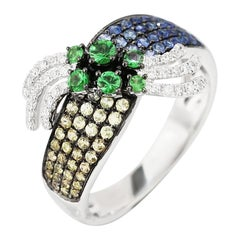 Fashion Tsavorite Blue Yellow Sapphire Diamond White Gold Ring