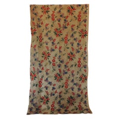Fashion Vintage Embroidered Floral Indian Cotton on Sheer Linen Floral Scarf