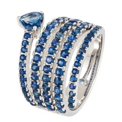 Fashionable and Stylish Blue Sapphire White Gold Statement Ring for Her