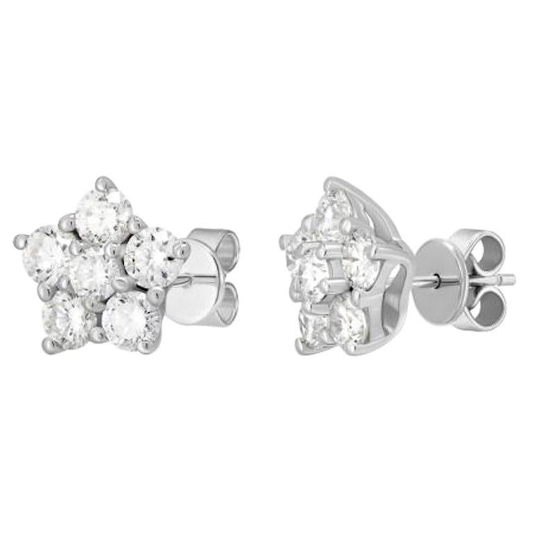 Fashionable Classic Diamond White Gold Statement Flower Stud Earrings for Her