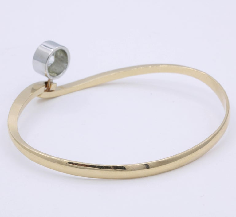 Round Cut Diamond Floating Bangle 1.73 Carat Platinum 18K Rose Gold For Sale