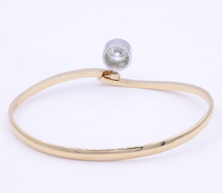 Diamond Floating Bangle 1.73 Carat Platinum 18K Rose Gold In New Condition For Sale In New York, NY
