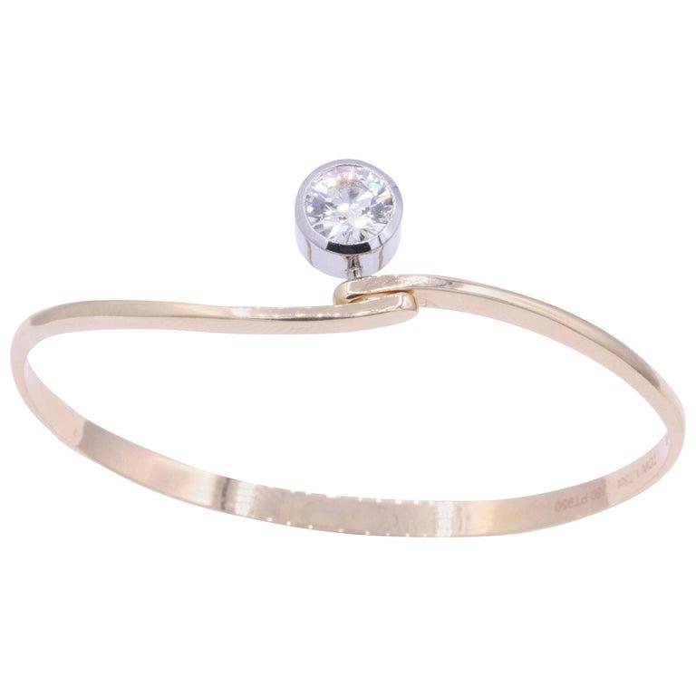 Diamond Floating Bangle 1.73 Carat Platinum 18K Rose Gold For Sale