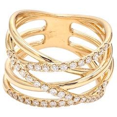 Fashionable Diamond Ring 18 Karat Yellow Gold