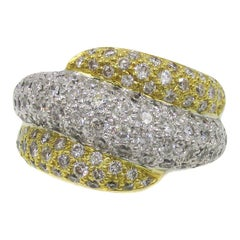Fashionable Diamond Two-Color Gold Ring