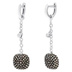 Fashionable Italian Brown Diamond White Gold Statement Dangle Earrings for Her