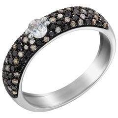 Fashionable Italian Diamond White Gold Statement Band Ring for Her