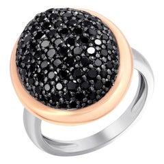 Fashionable Italian Diamond White Rose Gold Statement Signet Ring for Her