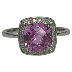 Princess Pink Sapphire White Diamond 14 Karat Gold Ring