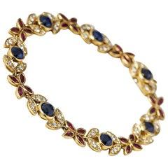 Fasoli 18 Karat Yellow Gold Sapphire Ruby Diamond Bracelet