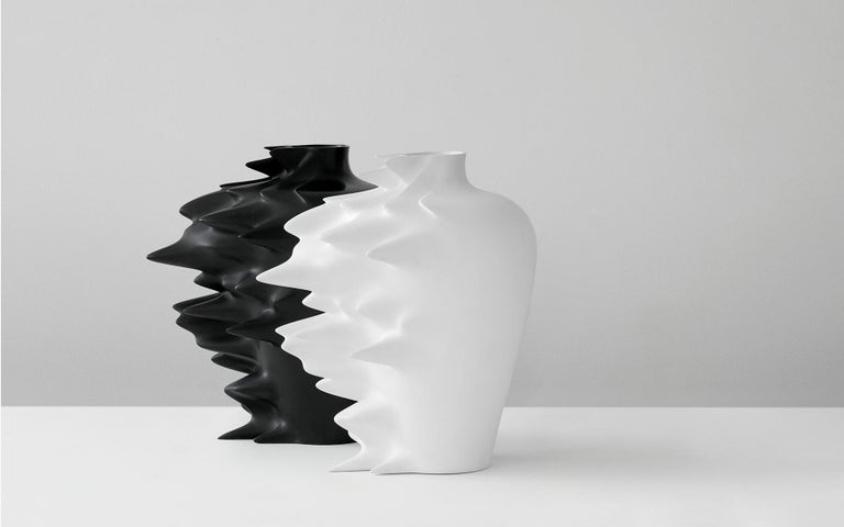 Contemporary Fast, Vase in Corian, Black or White, YMER&MALTA, France For Sale