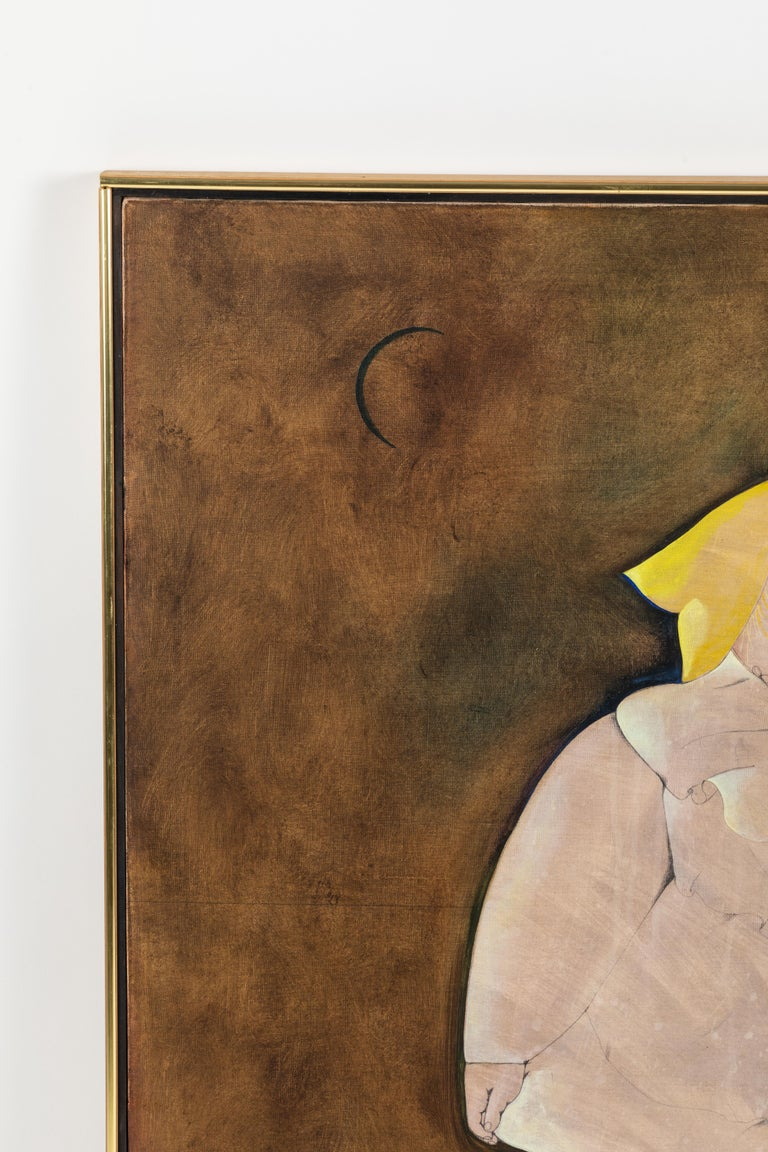 Mid-Century Modern Fat Girl with a Yellow Bow, Oil Painting by Mary Spain, '1934-1983'