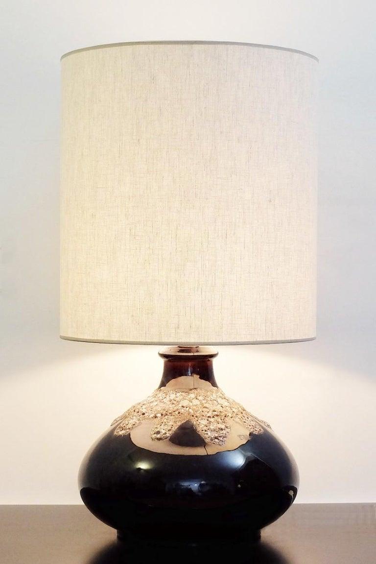 European Fat Lava Brown Ceramic Table Lamp For Sale