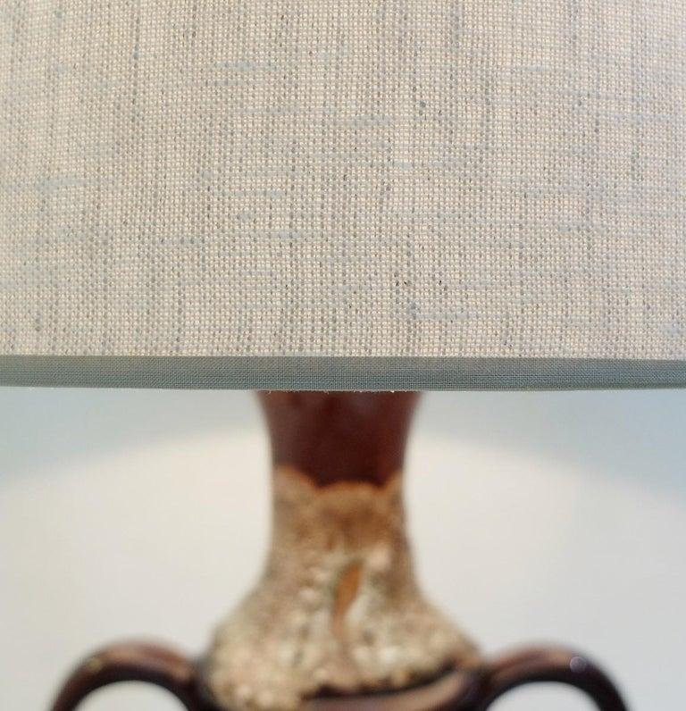 Fat Lava Brown Ceramic Table Lamp For Sale 1