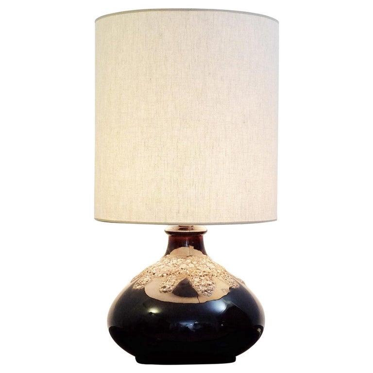 Fat Lava Brown Ceramic Table Lamp For Sale