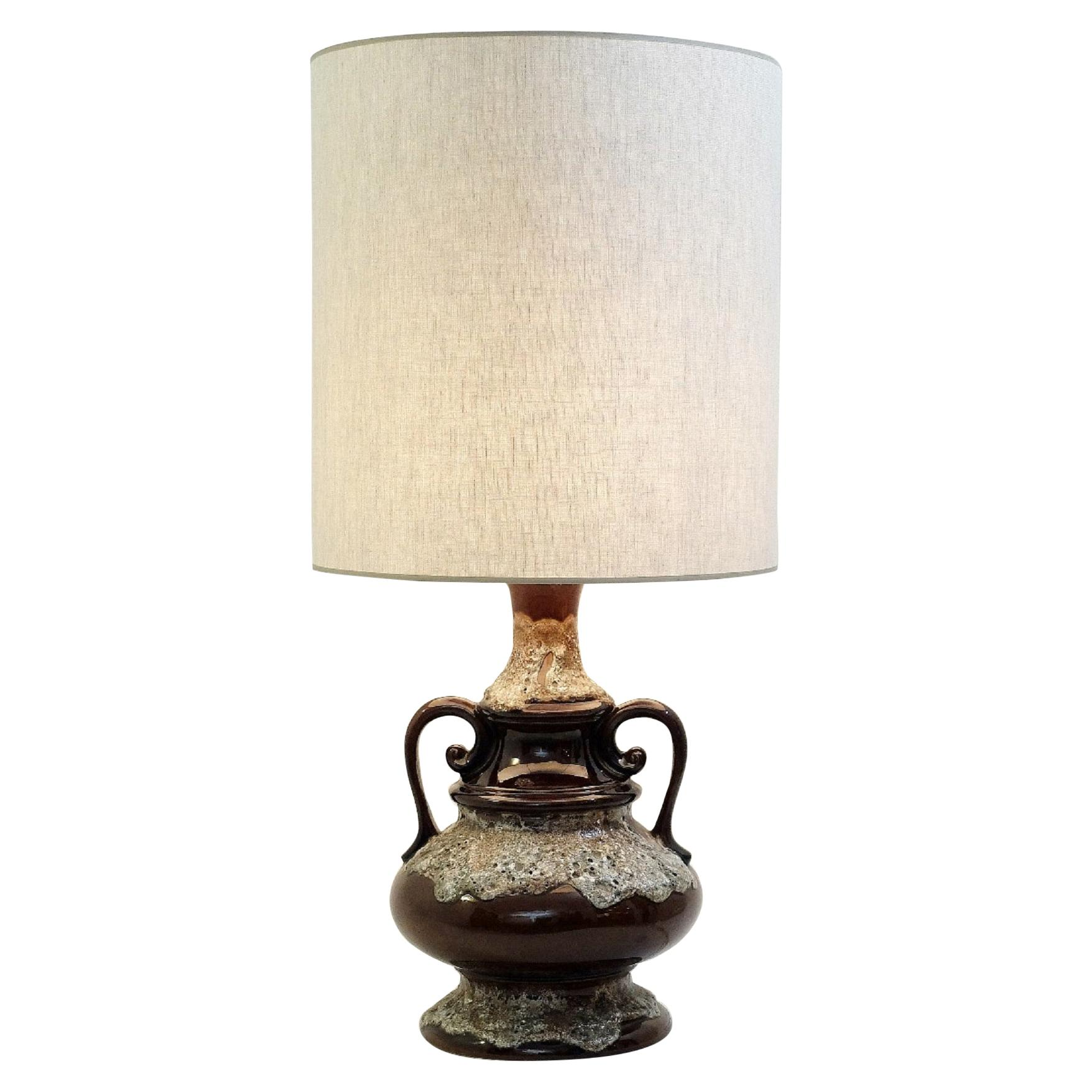 Fat Lava Brown Ceramic Table Lamp