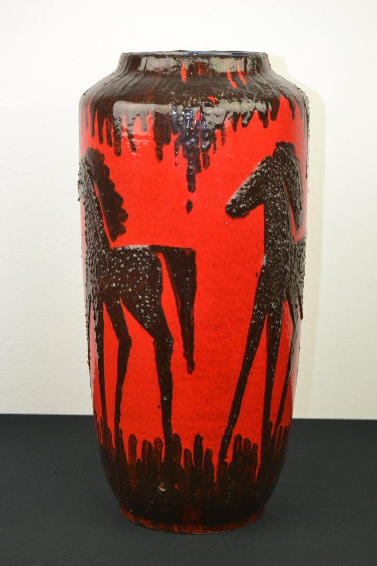 Fat Lava Horses Vase by Scheurich, Western Germany, 1960s For Sale 4