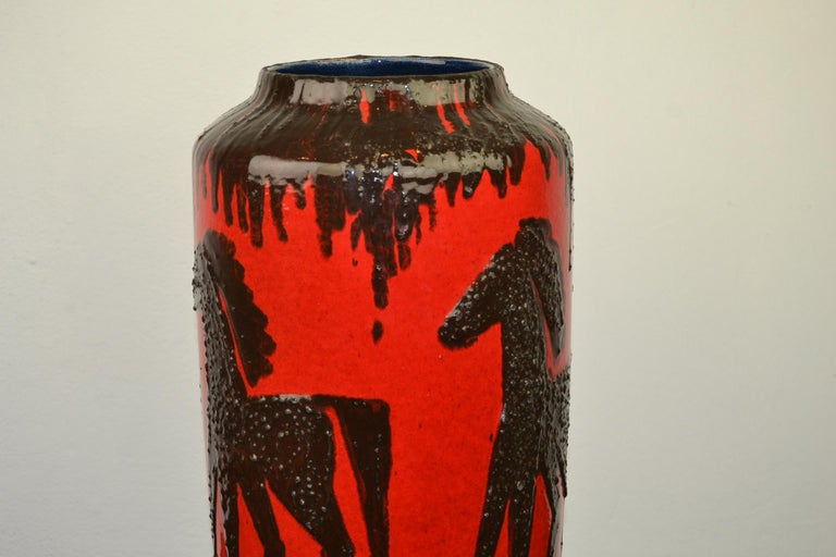Fat Lava Horses Vase by Scheurich, Western Germany, 1960s For Sale 5