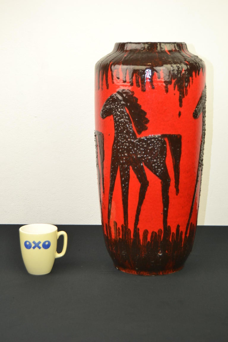 Fat Lava Horses Vase by Scheurich, Western Germany, 1960s For Sale 13