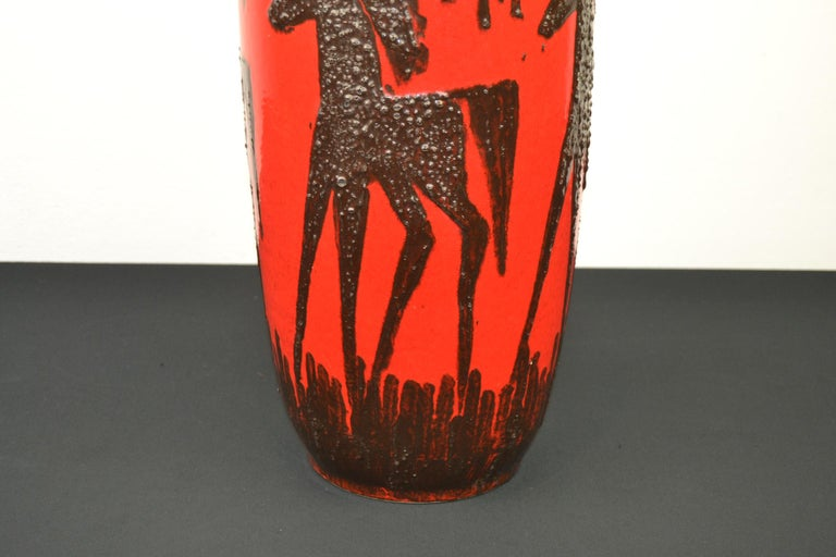 Mid-Century Modern Fat Lava Horses Vase by Scheurich, Western Germany, 1960s For Sale