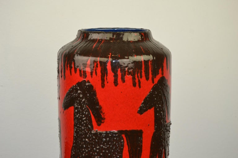 20th Century Fat Lava Horses Vase by Scheurich, Western Germany, 1960s For Sale