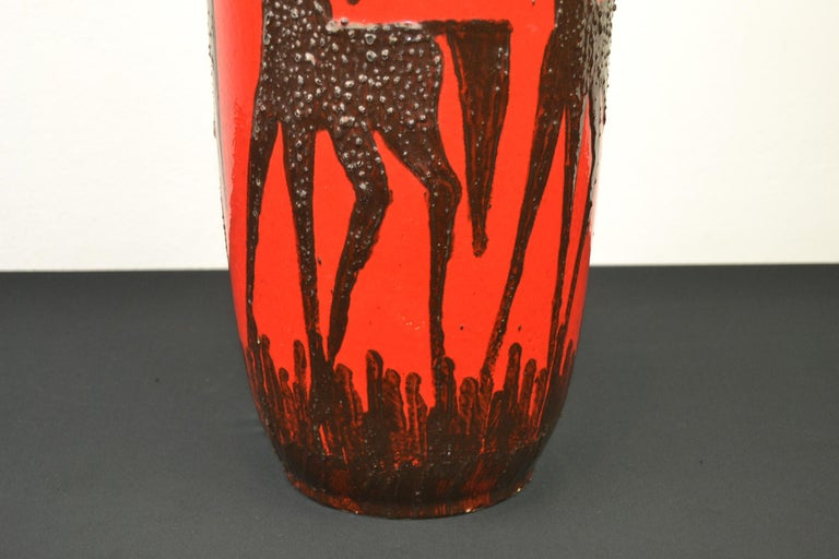 Ceramic Fat Lava Horses Vase by Scheurich, Western Germany, 1960s For Sale