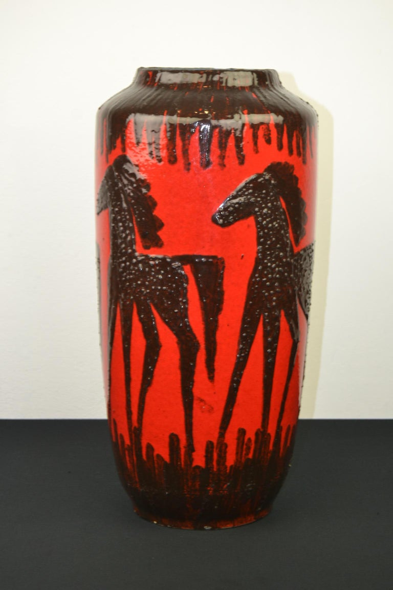 Fat Lava Horses Vase by Scheurich, Western Germany, 1960s For Sale 1