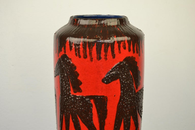 Fat Lava Horses Vase by Scheurich, Western Germany, 1960s For Sale 2