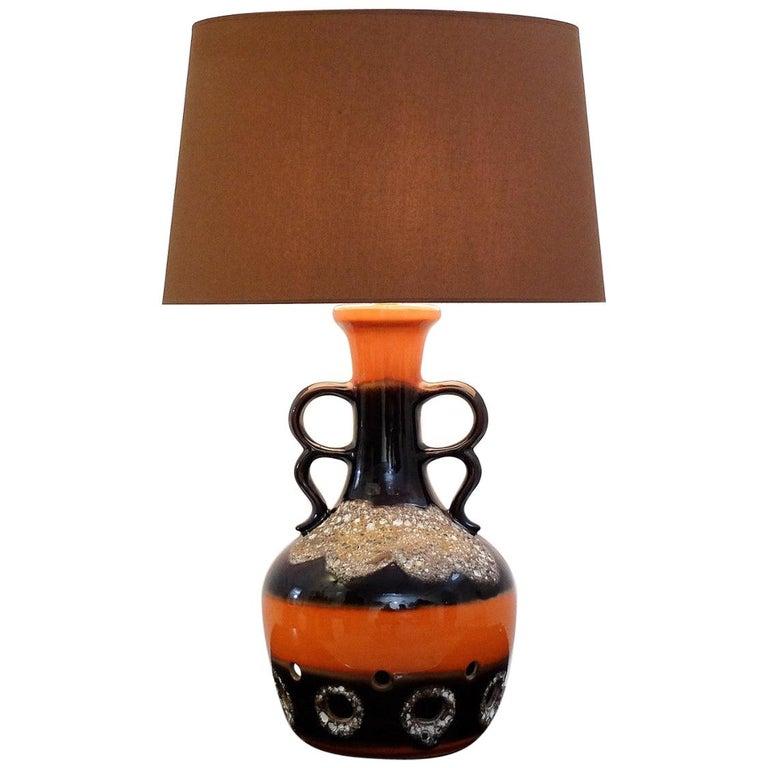 Fat Lava Orange and Brown Ceramic Table Lamp For Sale