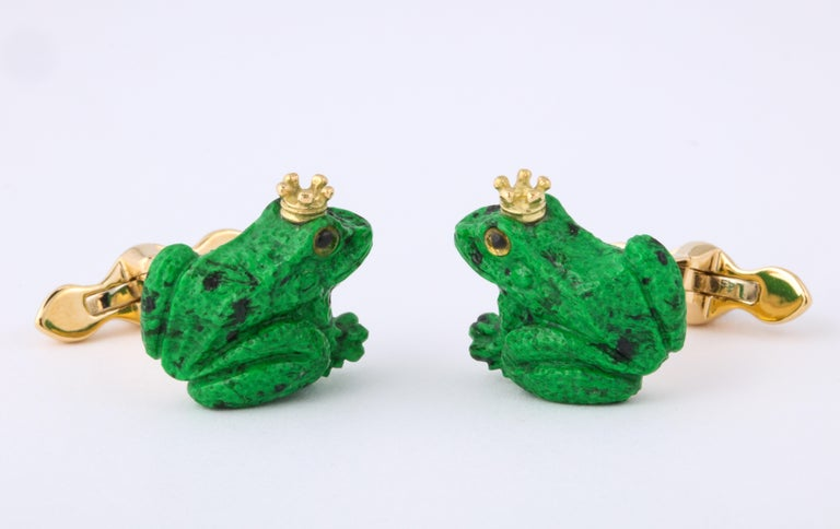 Modern Father's Day Crowned Frog Cufflinks by Michael Kanners For Sale