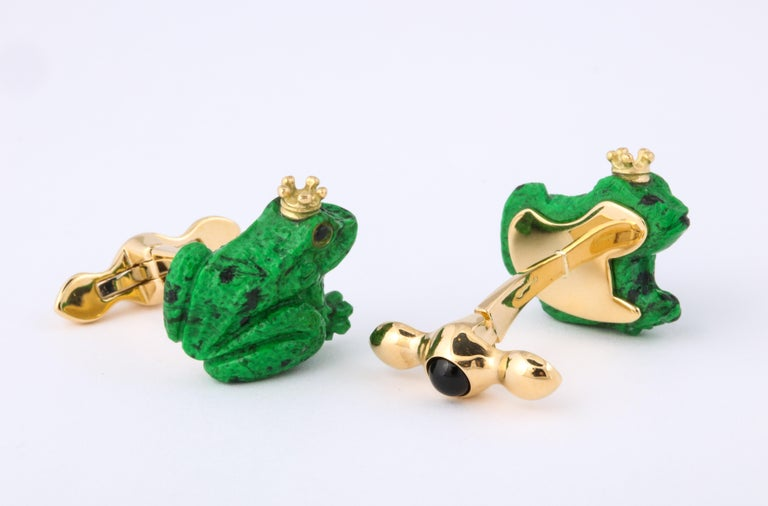 Father's Day Crowned Frog Cufflinks by Michael Kanners In New Condition For Sale In Bal Harbour, FL